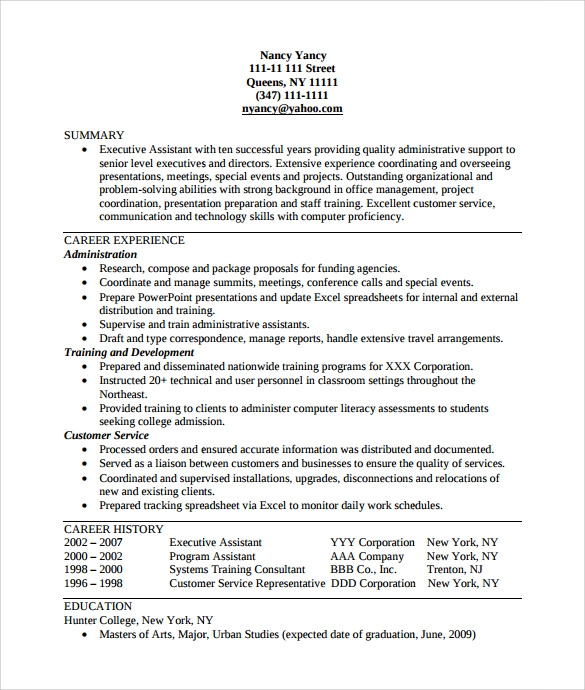Sample Executive Assistant Resume    Examples  Format