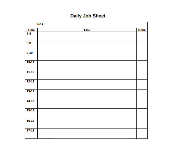 Sample Job Sheet   Documents In Pdf Word