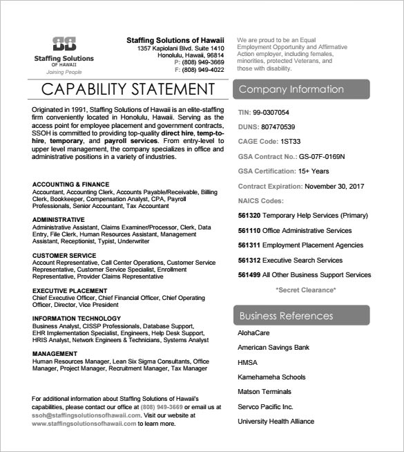 Sample Capability Statement Templates   Free Documents
