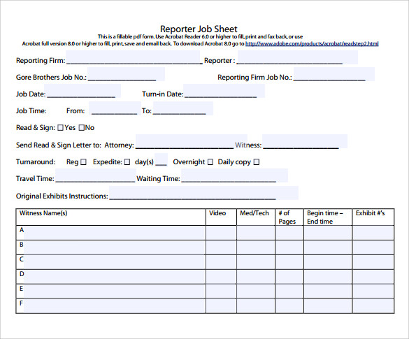 Exceptional Free Download Job Sheet Template To Job Sheet Template Free