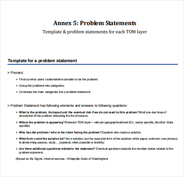 Sample Problem Statement   Documents In Pdf Word