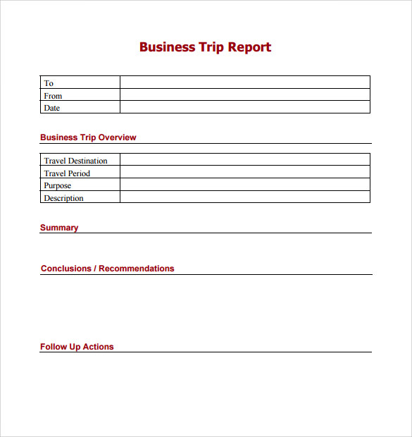 Trip Report Template   Free Samples Examples  Formats