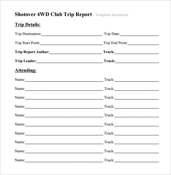 Trip Report Template 7 Free Samples Examples Formats – Trip Report Template