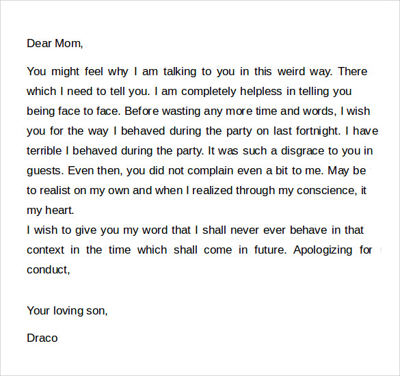 Apology Letter to Mom   5  Download Free Documents In Word DS2sfrBs