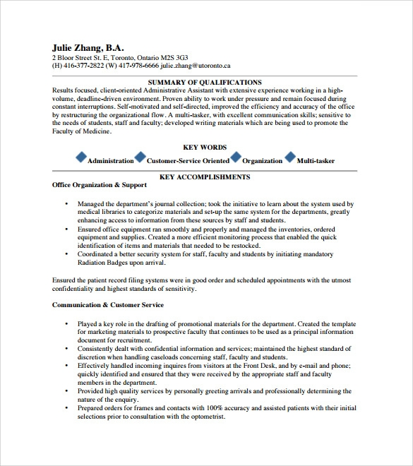 executive assistant resume 6 free sles exles