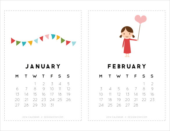 Cute Calendar Template   Download Free Documents In Pdf  Word