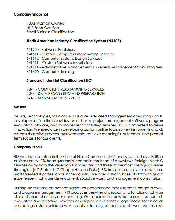 Sample Capability Statement Templates 14 Documents In