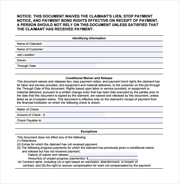Sample Conditional Release Form   Download Free Documents In Pdf