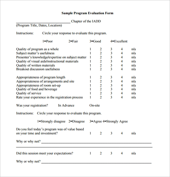 Sample Program Evaluation Form   Free Samples Examples Formats