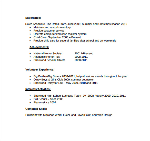 Microsoft Word Resume Template  Free Samples Examples Format