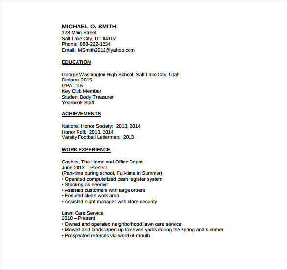 High School Student Resume Template No Experience » Free Resume