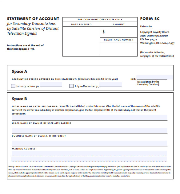 Sample Statement Of Account   Documents In Pdf