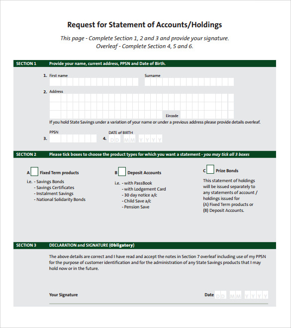 template statement of account