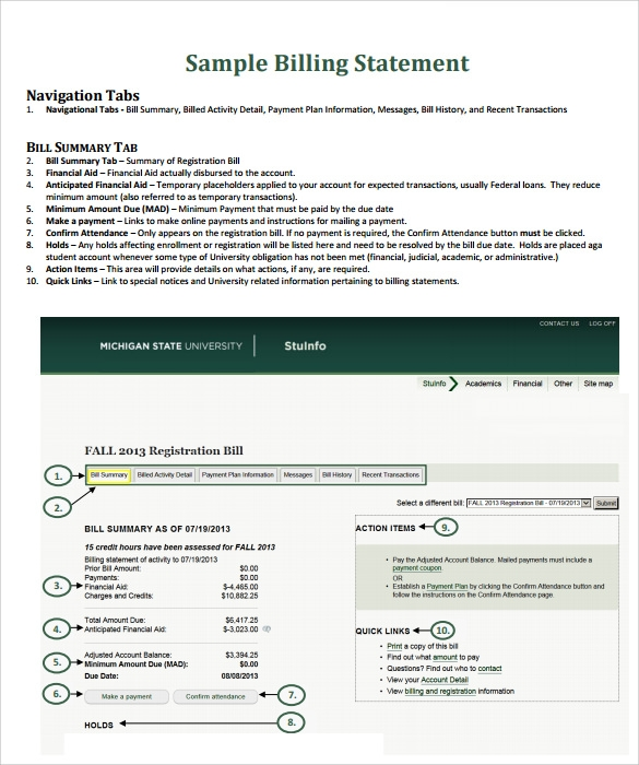 Sample Billing Statement   Documents In Pdf