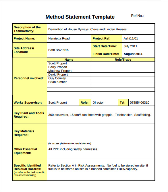 Sample Method Statement Template   Documents In Pdf