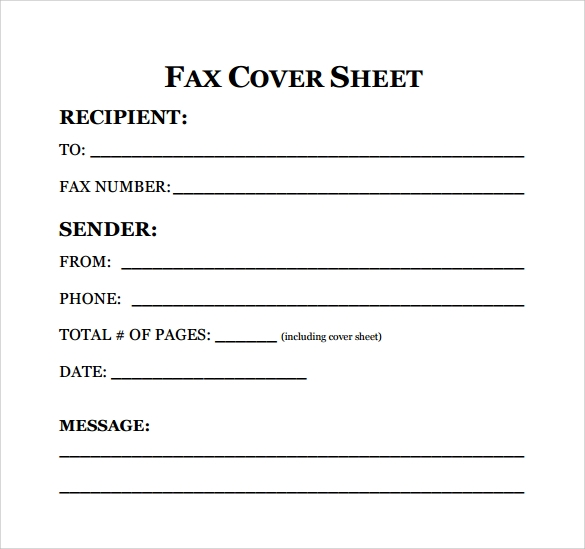 fax cover sheet for resume to print
