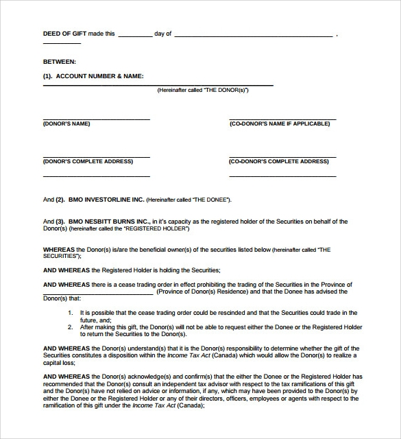 Sample Deed of Gift Form - 12+ Samples, Examples, Format