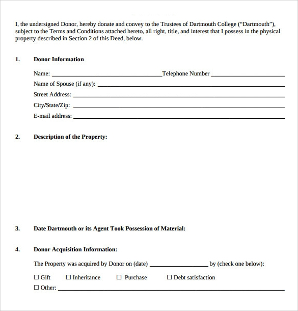Sample Deed Of Gift Form   Samples Examples Format