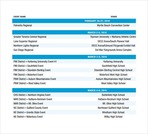 basic event schedule