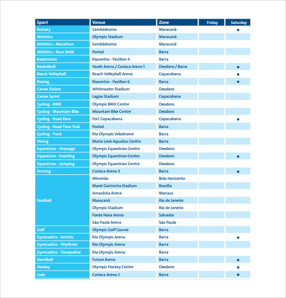 event schedule standard