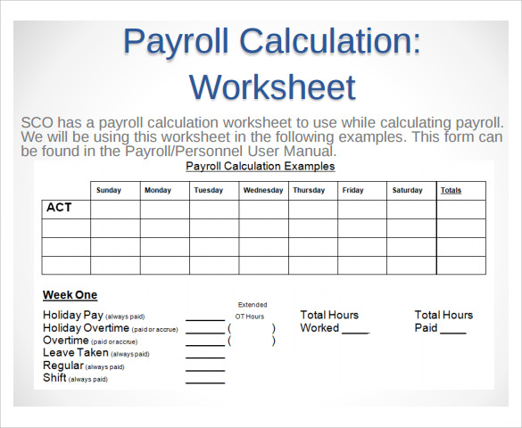 Payroll Timesheet Calculator
