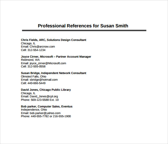 Sample Professional Reference Templates  Sample Example Format