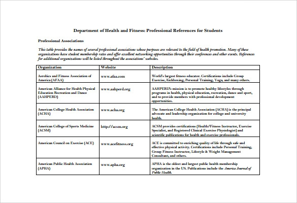 professional references for students1