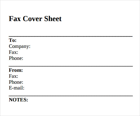 Sample Standard Fax Cover Sheet   Documents In Word Pdf