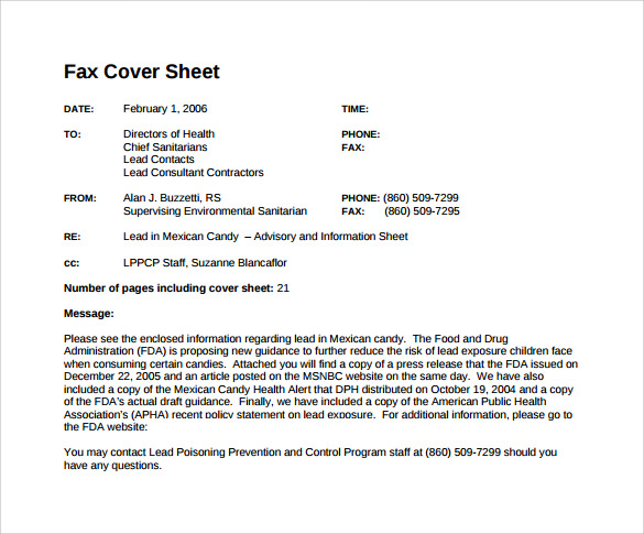 sample standard fax cover sheet  u2013 11  documents in word  pdf