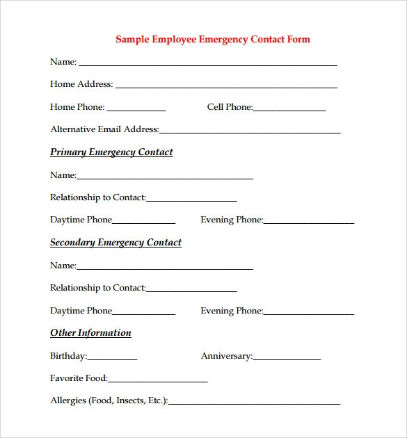 sample employee contact form