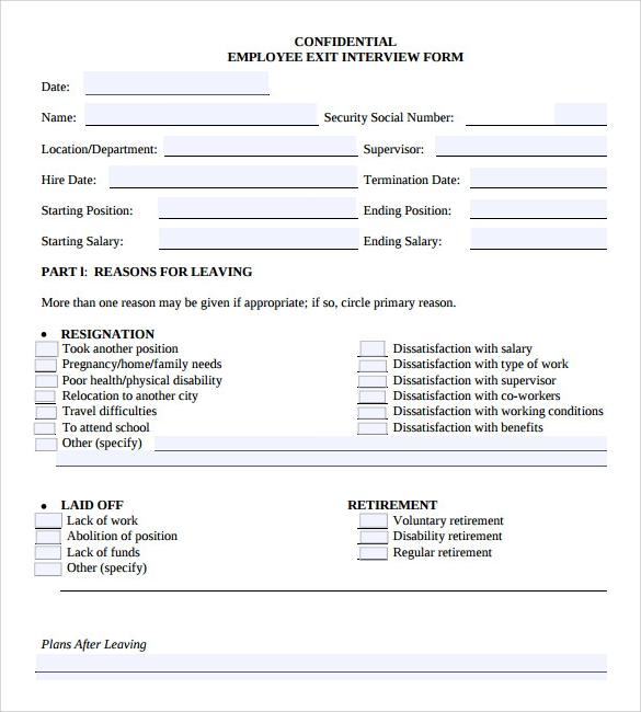 sample employee exit interview form