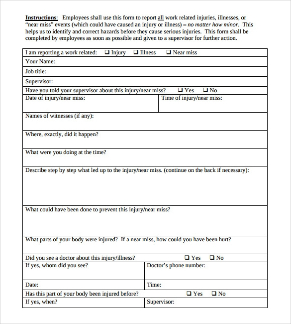 sample employee report of injury form