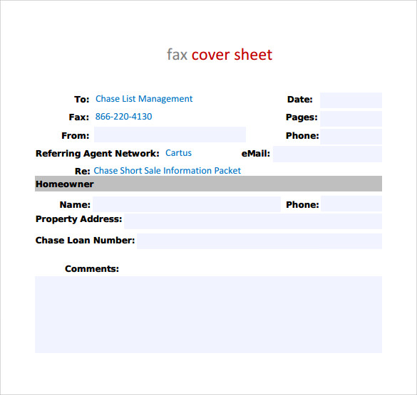 Standard Fax Cover Sheet Template
