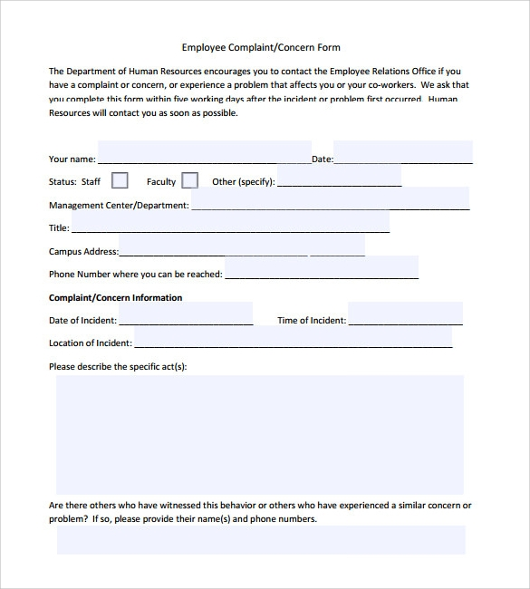 sample employee concern form