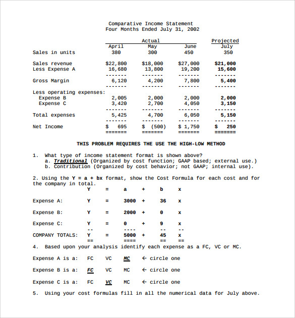 sample contribution income statement