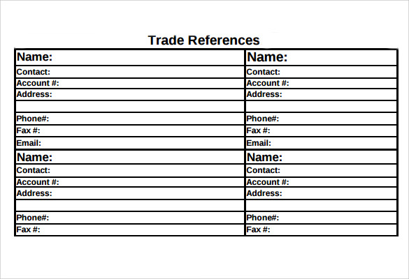 Trade Reference Template - 15+ Free Samples , Examples, Format