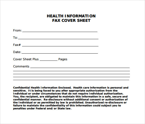 Sample Blank Fax Cover Sheet 9 Free Samples Examples Format – Fax Cover Example