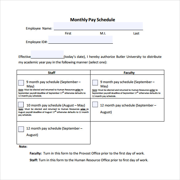 Sample Payment Schedule 24 Documents In Pdf Word