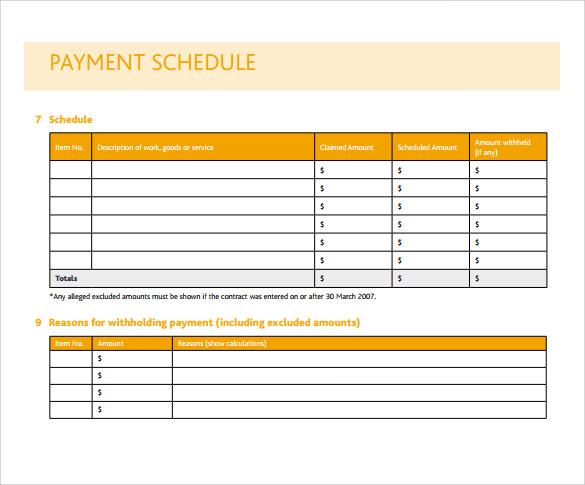 Payment Schedule Template 10 Free Samples Examples
