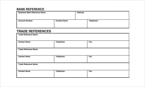 Trade Reference Template   Free Samples  Examples Format