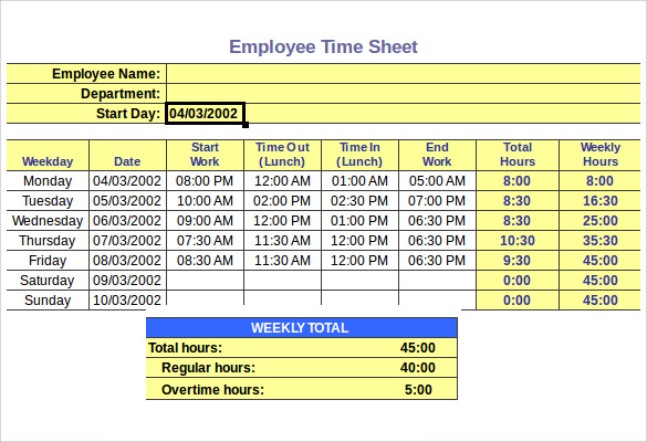 Elegant Employee Hourly Timesheet Calculator Template