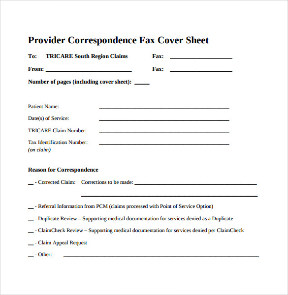 provider correspondence fax cover sheet