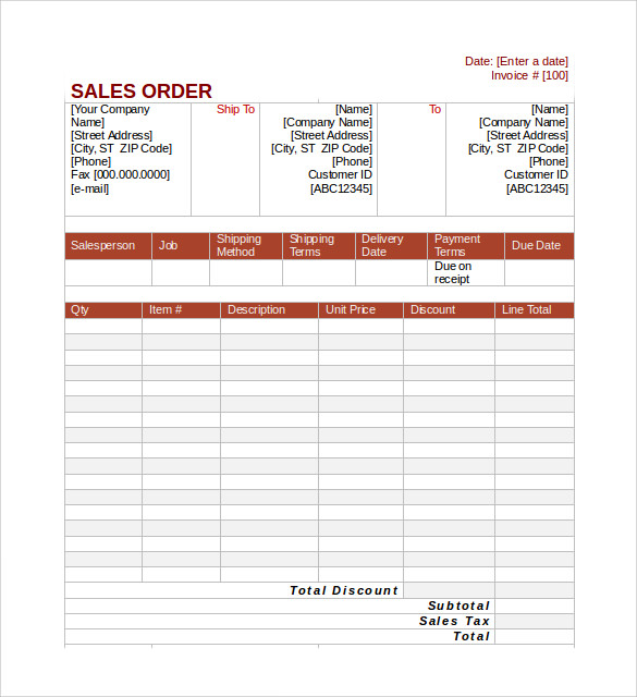 Sample Sales Order - 6+ Example, Format