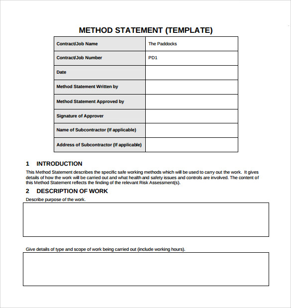 10 Method Statement Templates Pdf Word Sample Templates