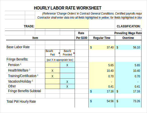 lobour worksheet timesheet calculator
