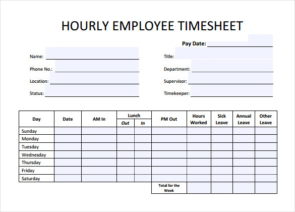 Hourly Timesheet Calculators   Free Sample Example Format