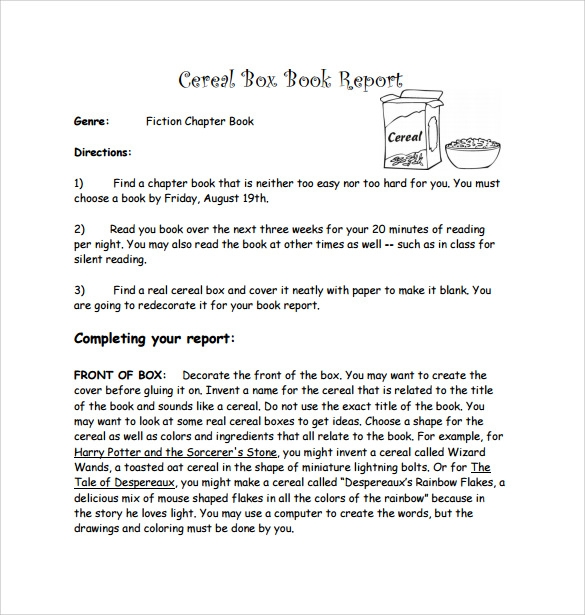 Cereal Box Book Report 11 Free Samples Examples Formats – Cereal Box Book Report Template