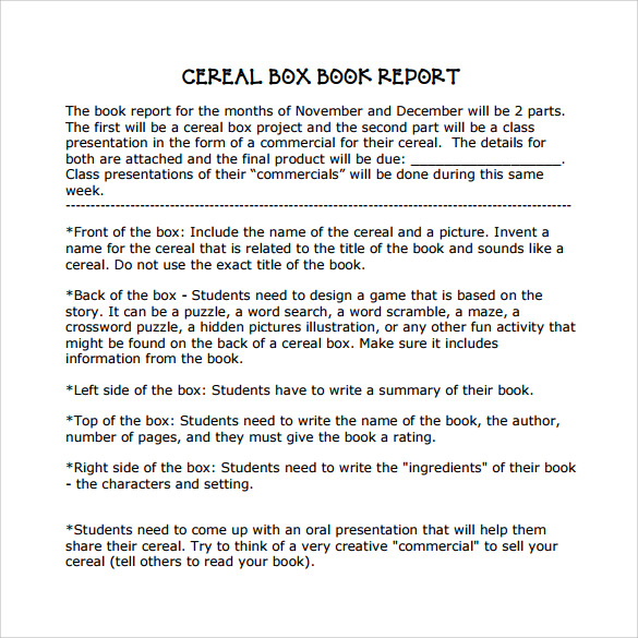 Cereal Box Book Report 11 Free Samples Examples Formats – Sample Cereal Box Book Report Template