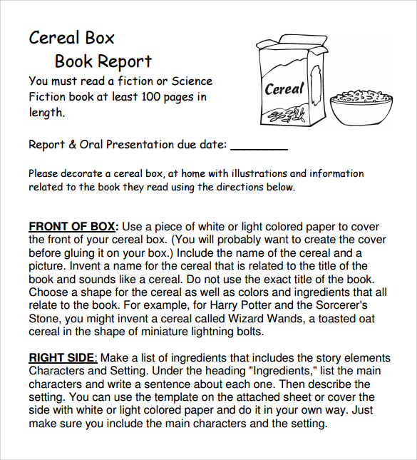 Free Download Cereal Box Book Report Template