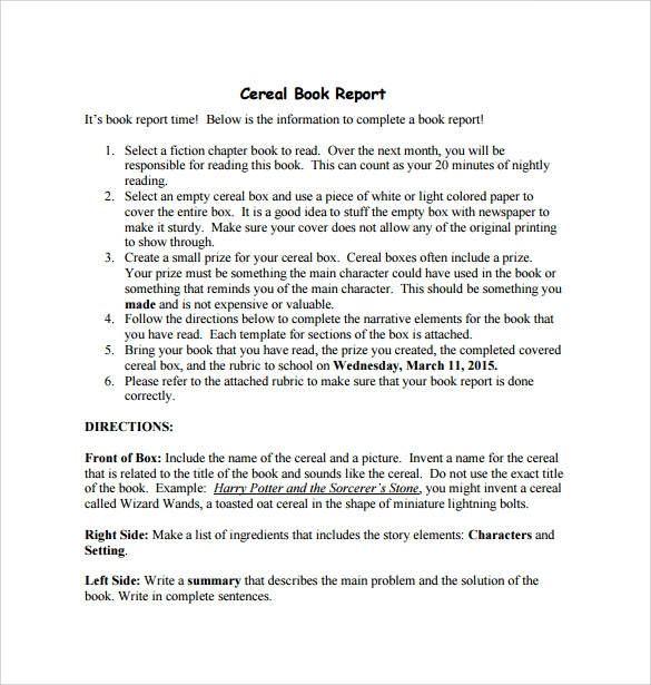 Cereal Box Book Report   Free Samples Examples  Formats